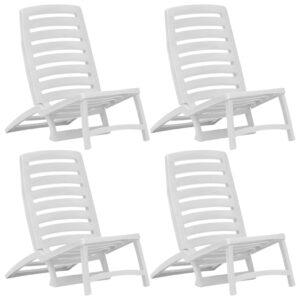 Cadeiras de praia dobráveis 4 pcs plástico branco - PORTES GRÁTIS