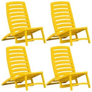 Cadeiras de praia dobráveis 4 pcs plástico amarelo - PORTES GRÁTIS