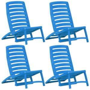Cadeiras de praia dobráveis 4 pcs plástico azul - PORTES GRÁTIS