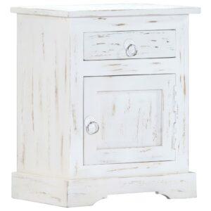 Mesa de cabeceira 40x30x50cm madeira de mangueira maciça branco - PORTES GRÁTIS