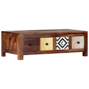 Mesa de centro 90x50x30 cm madeira de sheesham maciça - PORTES GRÁTIS