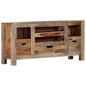 Aparador em madeira de sheesham maciça 100x30x50 cm cinzento - PORTES GRÁTIS