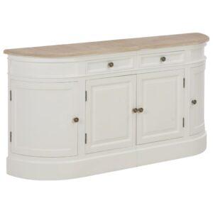 Aparador branco 134x30x68 cm madeira maciça - PORTES GRÁTIS