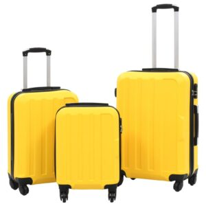 Conjunto de tróleis estojo rígido 3 pcs ABS amarelo - PORTES GRÁTIS