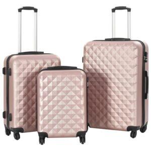 Conjunto de tróleis estojo rígido 3 pcs ABS ouro rosa - PORTES GRÁTIS