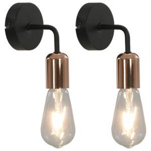 Candeeiros parede 2 pcs lâmpadas de incand. 2 W preto/cobre E27 - PORTES GRÁTIS
