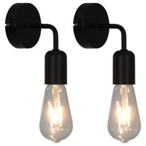 Candeeiros parede 2 pcs lâmpadas de incandescência 2W E27 preto - PORTES GRÁTIS