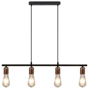 Candeeiro teto lâmpadas incandescência 2W preto/cobre 80cm E27 - PORTES GRÁTIS