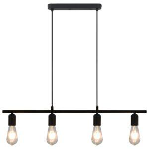 Candeeiro teto c/ lâmpadas incandescência 2 W preto 80 cm E27 - PORTES GRÁTIS