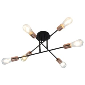Candeeiro teto c/ lâmpadas incandescência 2 W preto/cobre E27 - PORTES GRÁTIS