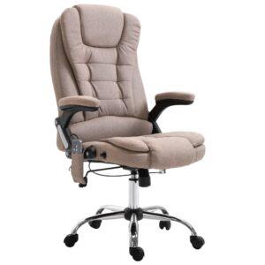 Cadeira escritório massajadora cinzento-acastanhado poliéster - PORTES GRÁTIS