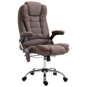 Cadeira escritório c/ função massagem poliéster castanho - PORTES GRÁTIS