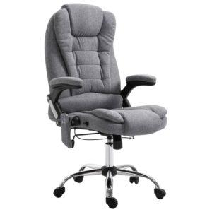 Cadeira escritório c/ função massagem poliéster cinzento - PORTES GRÁTIS