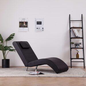 Chaise lounge com almofada couro artificial castanho - PORTES GRÁTIS