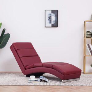 Chaise longue couro artificial vermelho tinto - PORTES GRÁTIS