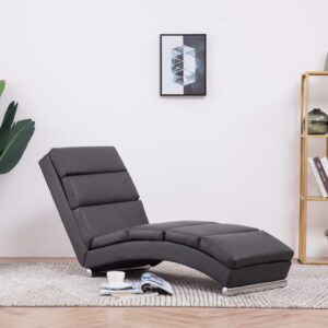 Chaise longue couro artificial cinzento - PORTES GRÁTIS