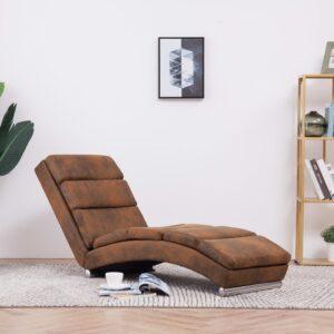 Chaise longue camurça artificial castanho - PORTES GRÁTIS