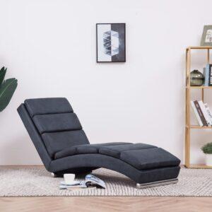 Chaise longue camurça artificial cinzento - PORTES GRÁTIS