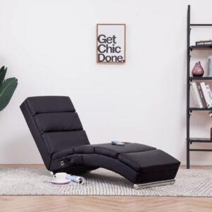 Chaise longue de massagens couro artificial castanho - PORTES GRÁTIS
