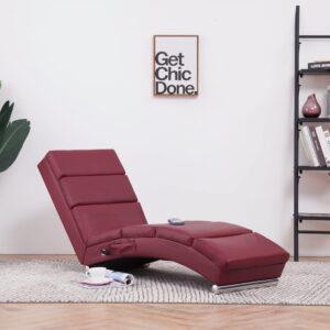 Chaise longue de massagens couro artificial vermelho tinto - PORTES GRÁTIS
