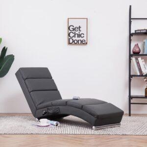 Chaise longue de massagens couro artificial cinzento - PORTES GRÁTIS