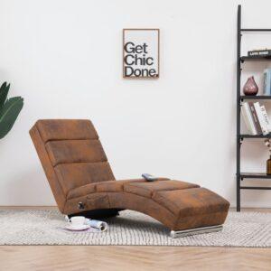 Chaise longue de massagens camurça artificial castanho - PORTES GRÁTIS