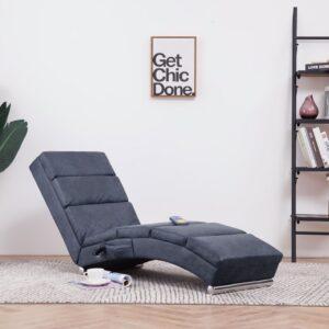 Chaise longue de massagens camurça artificial cinzento - PORTES GRÁTIS
