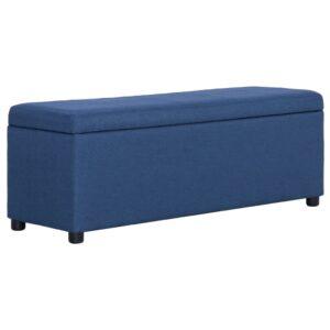 Banco c/ compartimento de arrumação 116 cm poliéster azul - PORTES GRÁTIS
