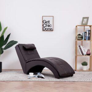 Chaise longue com almofada couro artificial castanho - PORTES GRÁTIS