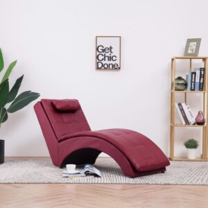 Chaise longue com almofada couro artificial vermelho tinto - PORTES GRÁTIS