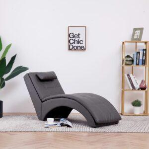 Chaise longue com almofada couro artificial cinzento - PORTES GRÁTIS