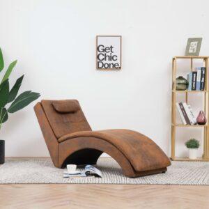 Chaise longue com almofada camurça artificial castanho - PORTES GRÁTIS
