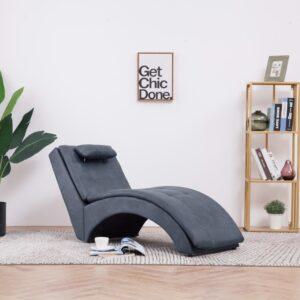 Chaise longue com almofada camurça artificial cinzento - PORTES GRÁTIS