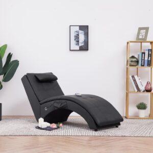 Chaise longue de massagem c/ almofada couro artificial preto - PORTES GRÁTIS