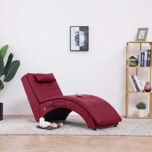 Chaise longue massagem c/ almofada couro artif. vermelho tinto - PORTES GRÁTIS