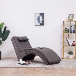Chaise longue de massagem c/ almofada couro artificial cinzento - PORTES GRÁTIS