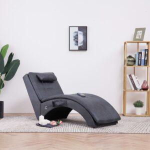 Chaise longue de massagem c/ almofada camurça artif. cinzento - PORTES GRÁTIS