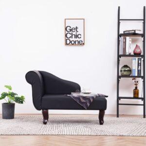 Chaise longue couro artificial preto - PORTES GRÁTIS