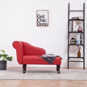Chaise longue couro artificial vermelho - PORTES GRÁTIS
