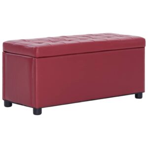 Banco de arrumação 87,5 cm couro artificial vermelho tinto - PORTES GRÁTIS