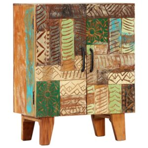 Aparador esculpido à mão 60x30x75 cm madeira recuperada maciça - PORTES GRÁTIS