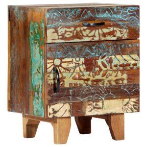 Mesa cabeceira esculpida à mão 40x30x50 cm madeira recuperada - PORTES GRÁTIS
