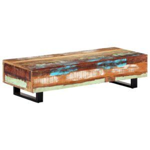 Mesa de centro 120x50x30 cm madeira recuperada maciça e aço - PORTES GRÁTIS