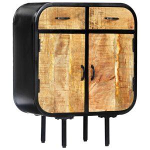 Aparador 60x30x75 cm madeira de mangueira maciça e ferro - PORTES GRÁTIS