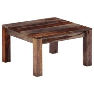 Mesa de centro 60x60x35 cm madeira de sheesham maciça cinzento - PORTES GRÁTIS