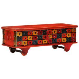 Caixa de arrumação 110x40x40 cm madeira acácia maciça vermelho - PORTES GRÁTIS