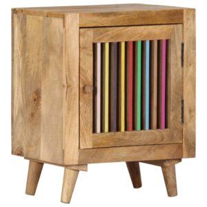 Mesa-de-cabeceira 40x30x50 cm madeira de mangueira maciça  - PORTES GRÁTIS