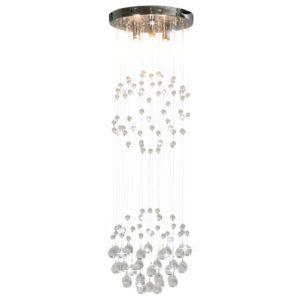 Candeeiro teto contas cristal 3 lâmpadas G9 esférico prateado - PORTES GRÁTIS