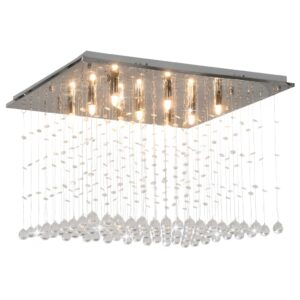 Candeeiro de teto com contas de cristal G9 cúbico prateado - PORTES GRÁTIS