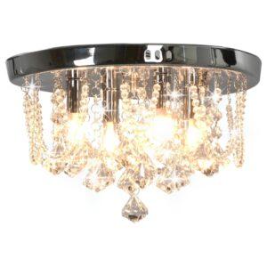 Candeeiro teto c/ contas cristal 4 lâmpadas G9 redondo prateado - PORTES GRÁTIS